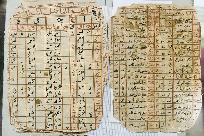 Tables d'astronomie dans les manuscrits de Tombouctou (source, https://upload.wikimedia.org/wikipedia/commons/thumb/3/39/Timbuktu-manuscripts-astronomy-tables.jpg/800px-Timbuktu-manuscripts-astronomy-tables.jpg)
