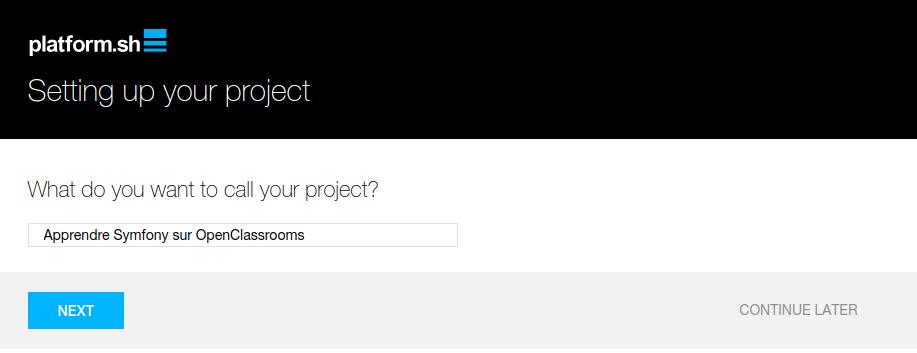 Choix du nom de projet sur Platform.sh