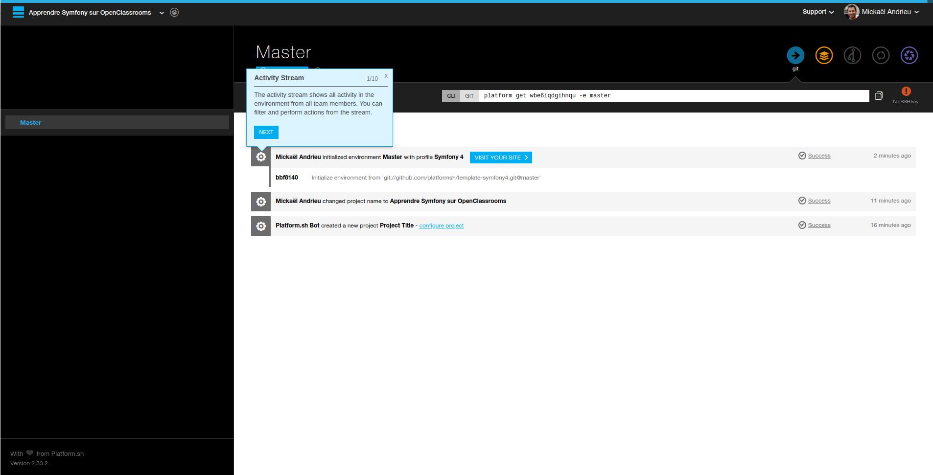 La page d'un projet sur Platform.sh