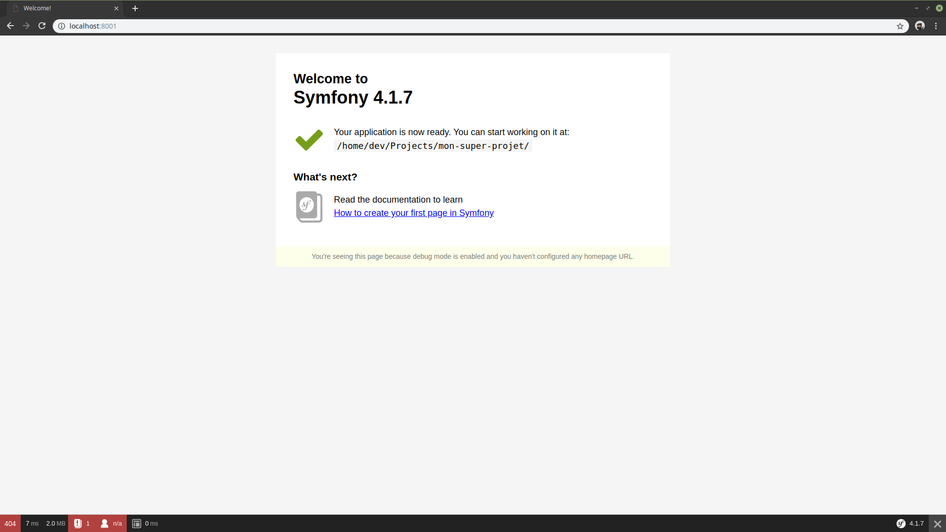 Page d'accueil du framework Symfony
