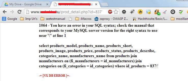 Message d'erreur sur un navigateur web, renseignant sur certains noms de variables, MySQL, etc.
