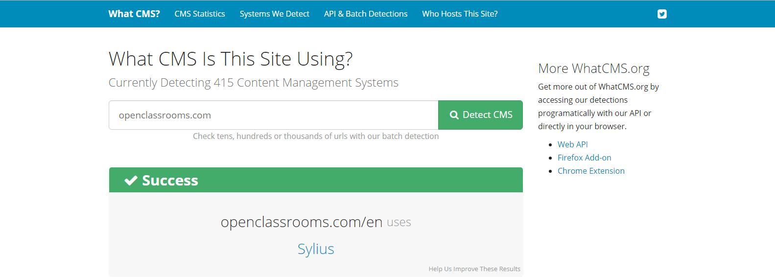 Openclassrooms - Résultat WhatCMS