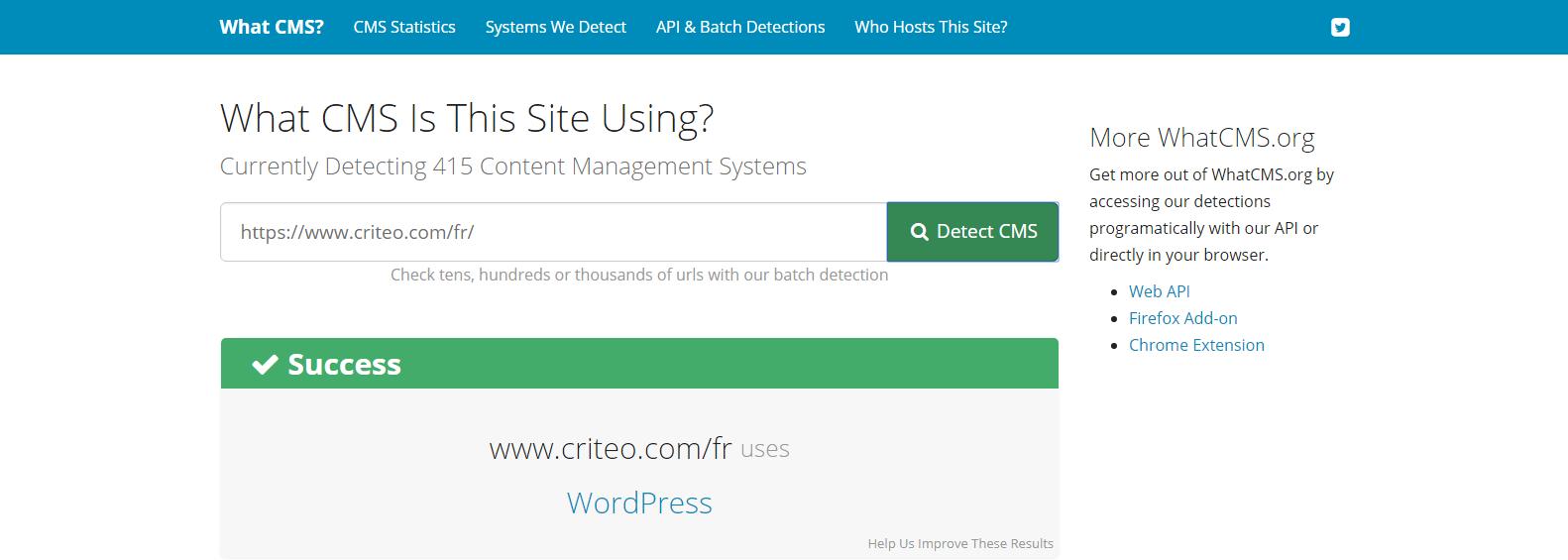 Criteo - Résultat WhatCMS