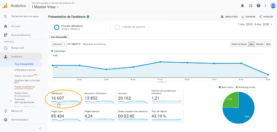 Nombre de visiteurs - Google Analytics