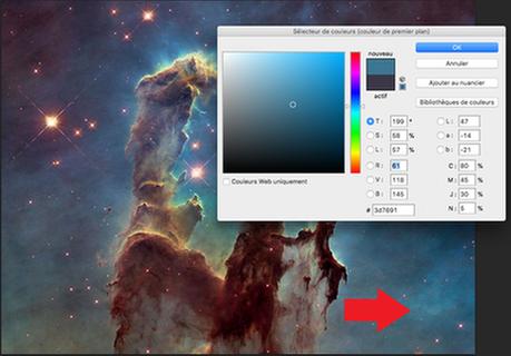 Composantes chromatiques d'un pixel bleu