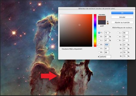 Composantes chromatiques d'un pixel marron