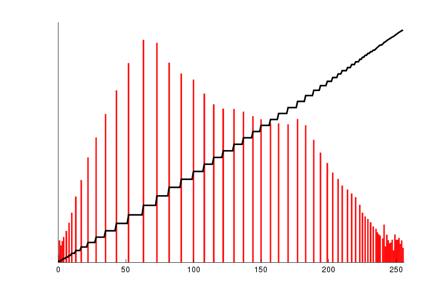 Le nouvel histogramme correspondant (en rouge, démontrant l'utilisation de toute l'étendue de la dynamique des niveaux du noir au blanc) ainsi que l'histogramme cumulé (en noir, démontrant la répartition régulière approximant une contribution