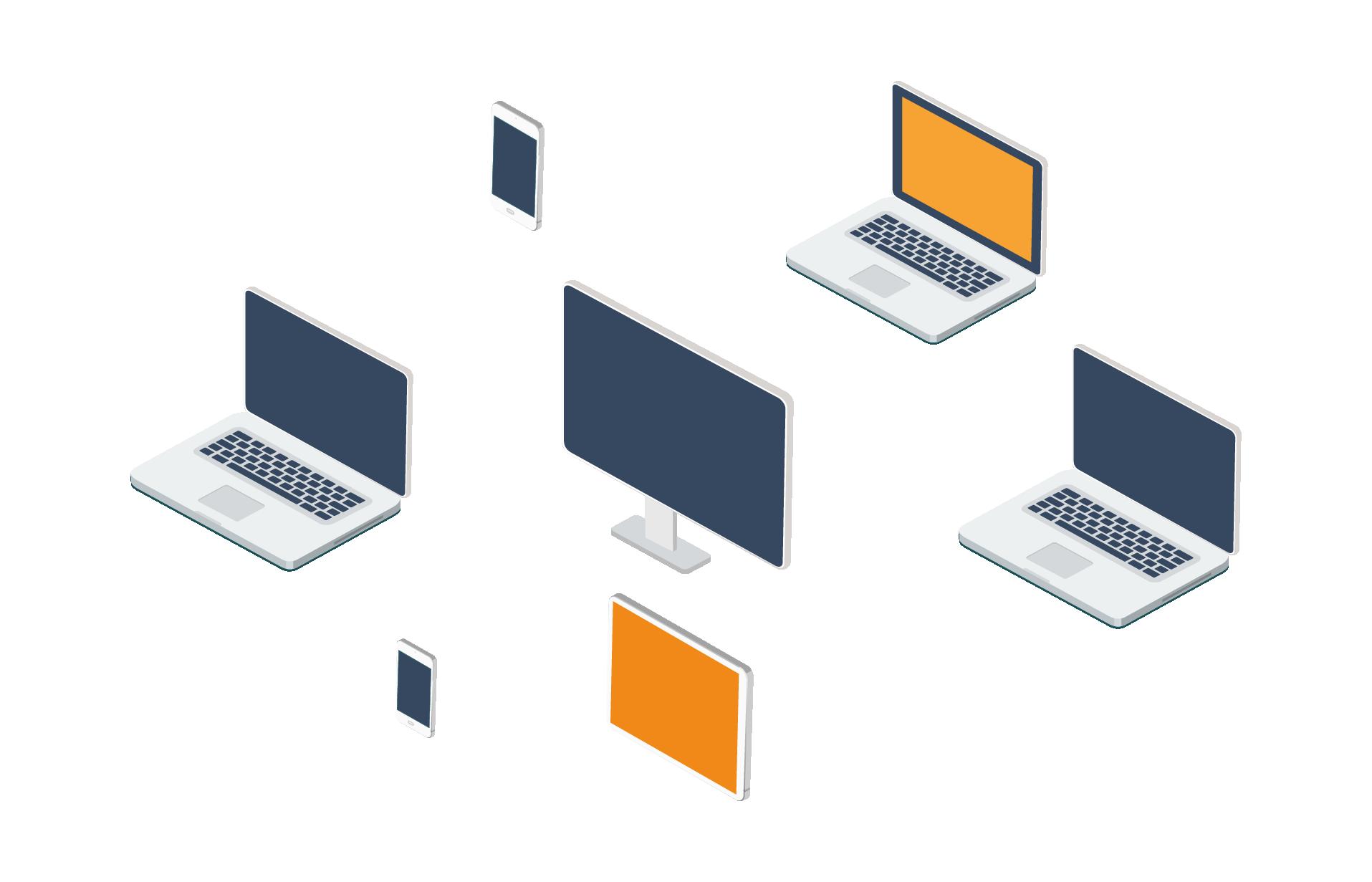 L'image contient des liens entre des ordinateurs, qui représentent des hyperliens entre sites.