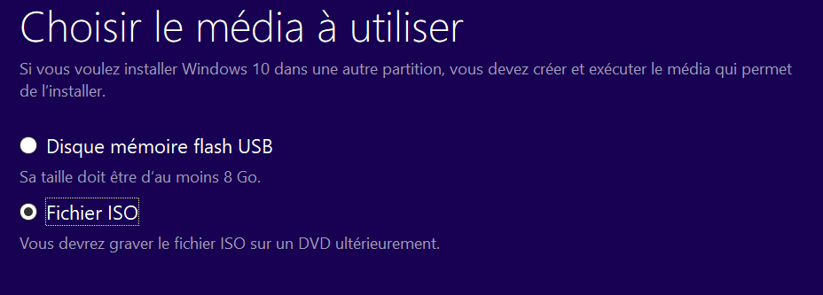 Installer Windows 10 sur un fichier ISO