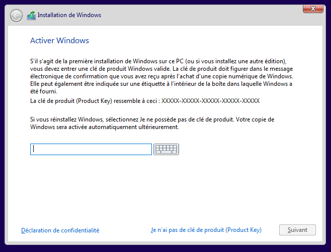 Activer Windows 10 avec la clé d'activation