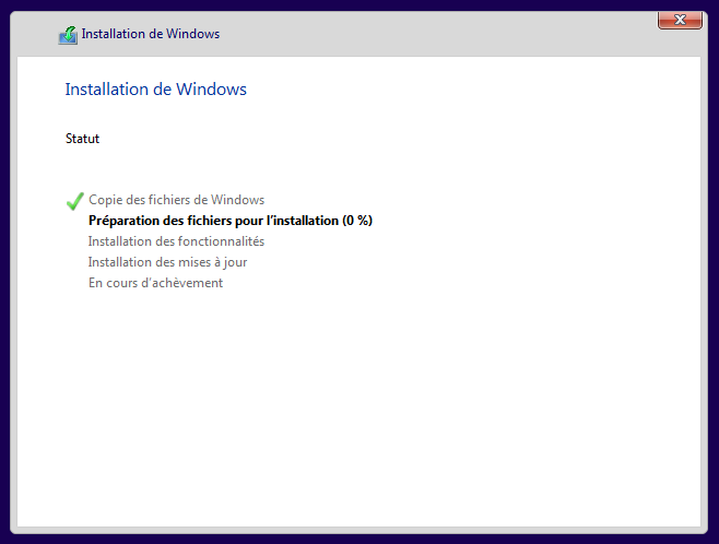 Installation de Windows 10 en cours