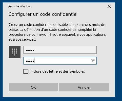 Création d'un code confidentiel