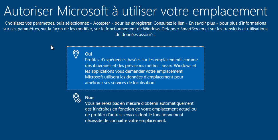 Autoriser Microsoft à utiliser votre emplacement