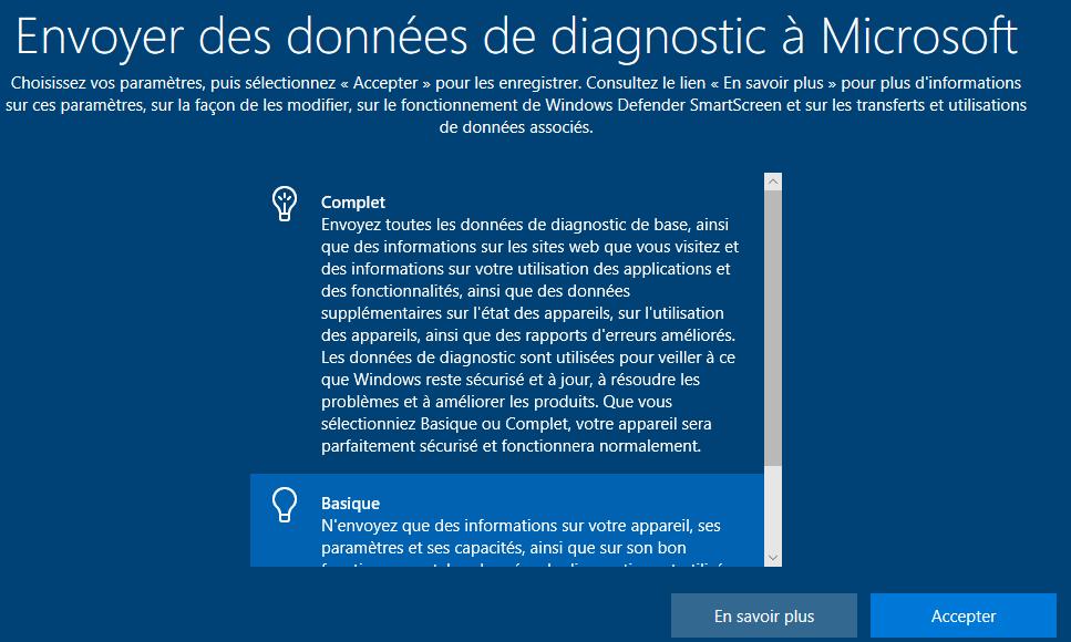 Envoyer des diagnostics à Microsoft
