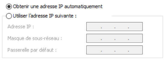 Obtenir une adresse IP automatiquement