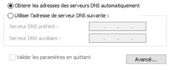 Obtenir les adresses des serveurs DNS automatiquement