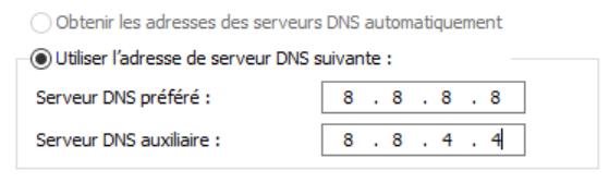 Utiliser une adresse de serveur DNS fixe