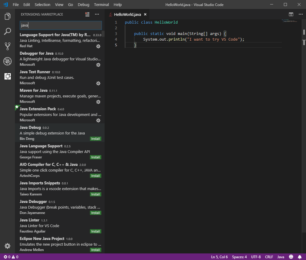 Use the Visual Studio Code Editor - Set up your Java development ...