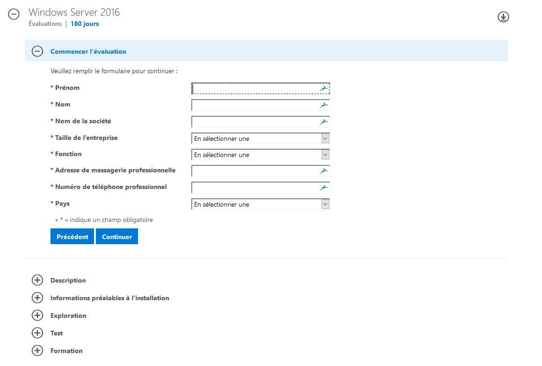 Enregistrement pour l'évaluation de Windows Server 2016 Standard