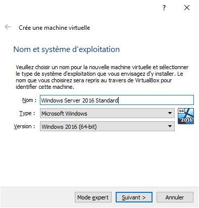 Nom et système d'exploitation de la machine virtuelle
