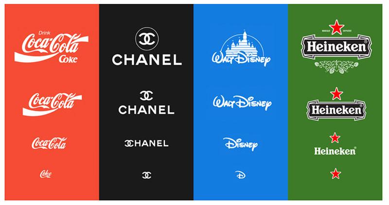 Exemple de représentation réduite des logos  Coca-Cola, Chanel, Walt Disney et Keineken.