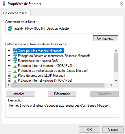 Configuration d'une interface réseau sous Windows