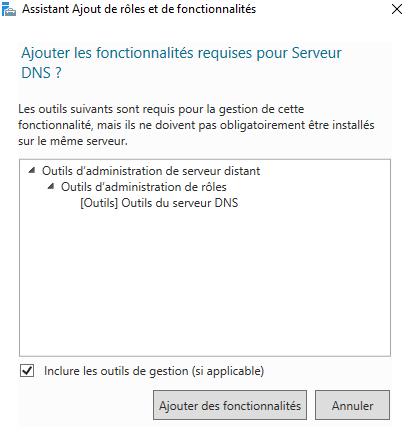 Fonctionnalités obligatoire pour le rôle Serveur DNS