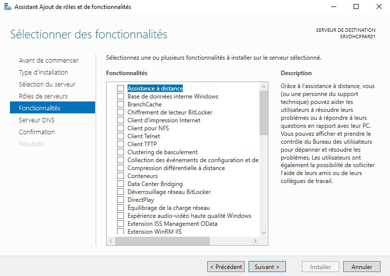 Liste des fonctionnalités d'un serveur Windows