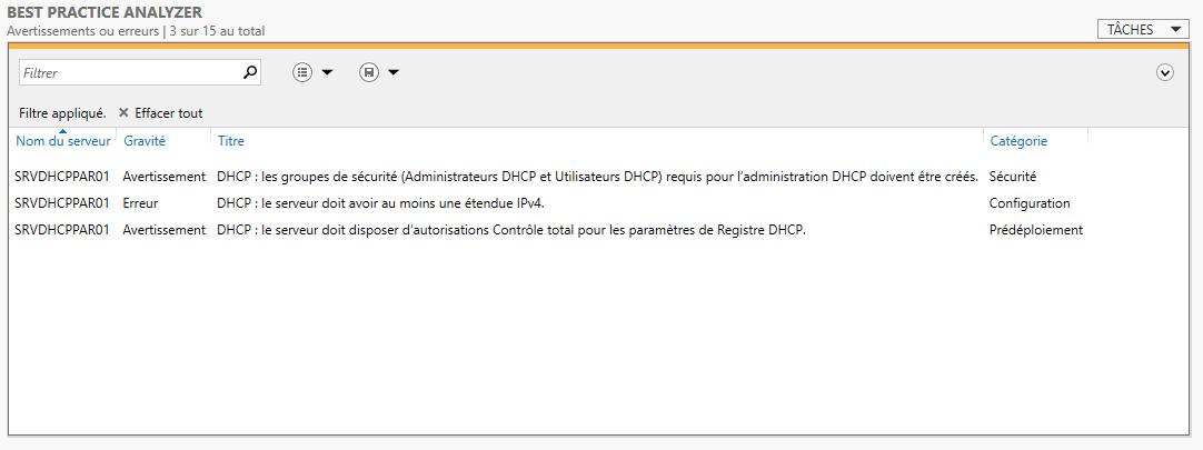 Résultat du BPA avec le rôle DHCP installé sur un serveur tout frais :)