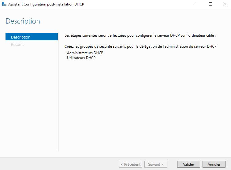 Assistant de configuration du rôle Serveur DHCP