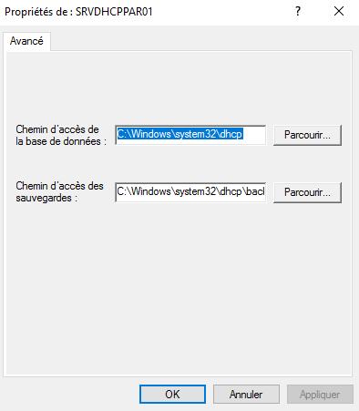 Emplacement de la base de données DHCP