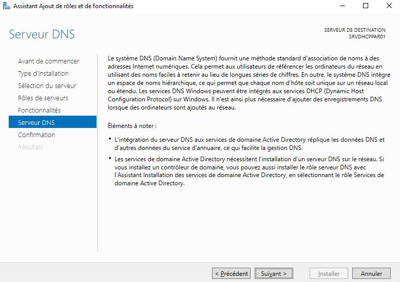 Information sur le rôle Serveur DNS de l'assistant d'installation
