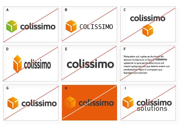 Plusieurs représentations du logo Colissimo pour montrer les interdits à ne pas faire avec le logo