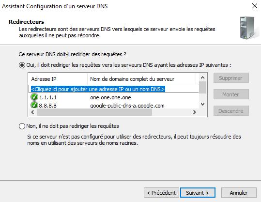 Configuration des redirecteurs DNS