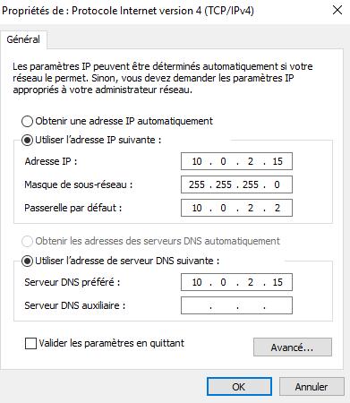 Configuration de votre serveur DNS comme serveur DNS de votre Serveur
