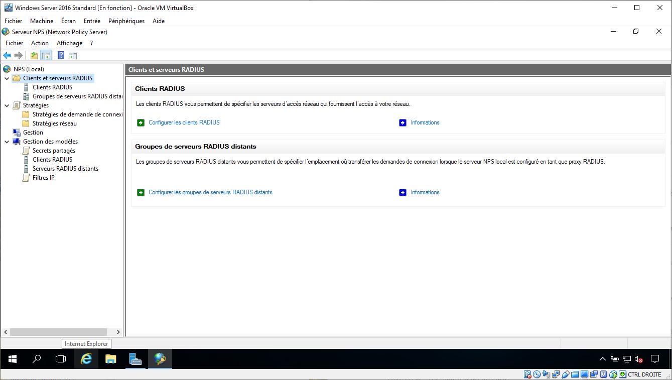 Console de gestion du serveur NPS