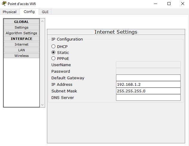Configuration IP du serveur