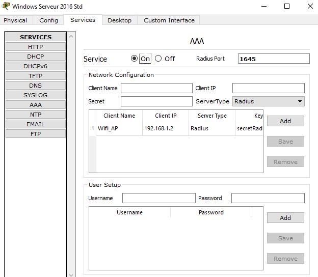 Configuration du serveur RADIUS