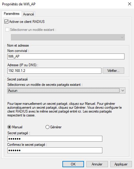 Configuration d'un client RADIUS