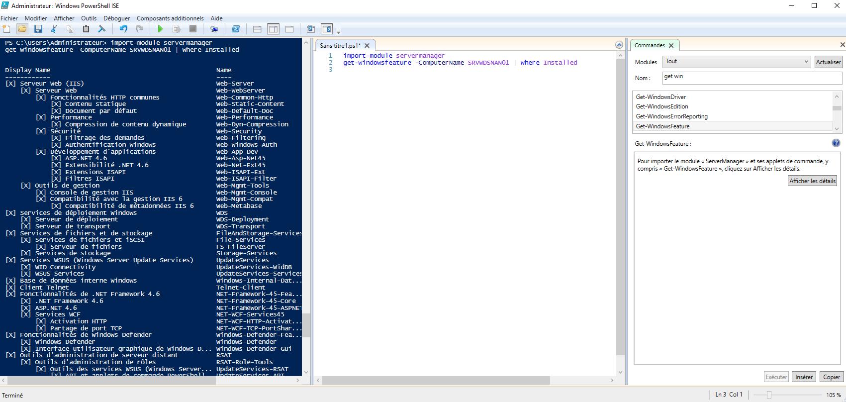 Affichage des fonctionnalités installées sur le serveur SRVWDSNAN01