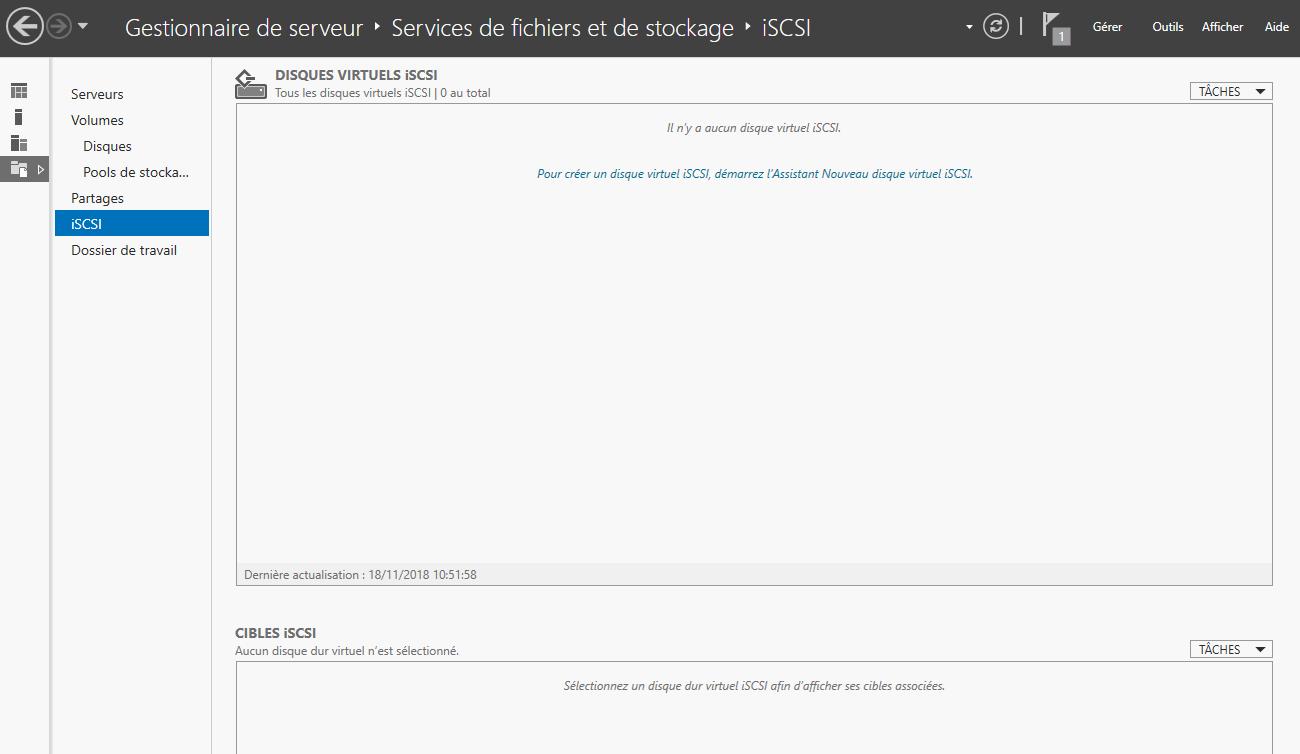 Assistant iSCSI du gestionnaire de serveur, au sein du rôle de Stockage (services de fichiers et de stockage)