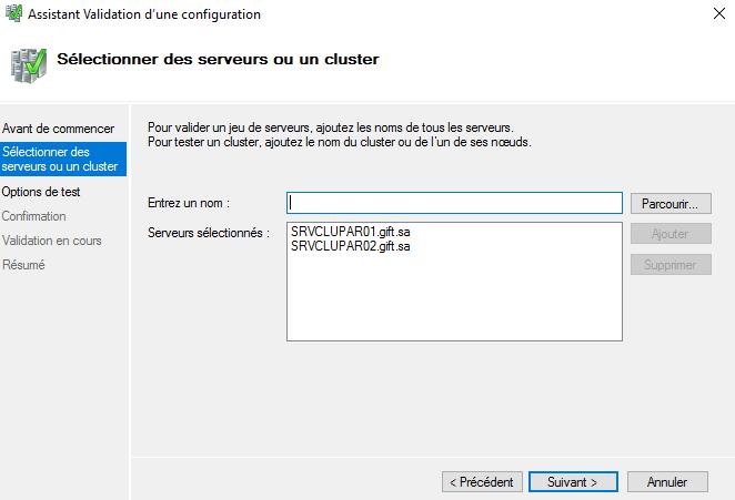 Validation des deux serveurs SRVCLUPAR01 et SRVCLUPAR02 pour un cluster à basculement
