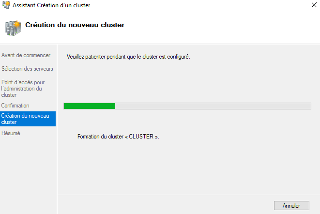 """Formation du cluster """"Cluster"""" (2/2)"""