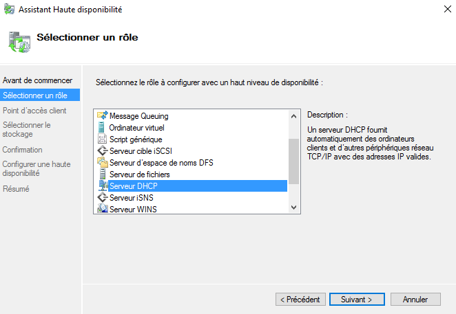 Analyse pour le rôle DHCP en cluster