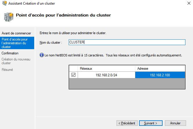 DHCP en cluster : nom et adresse IP du rôle