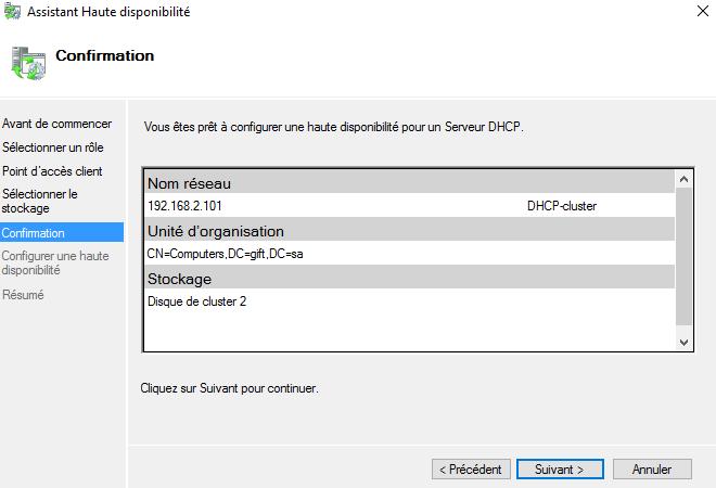 Récapitulatif de la configuration du rôle DHCP en cluster