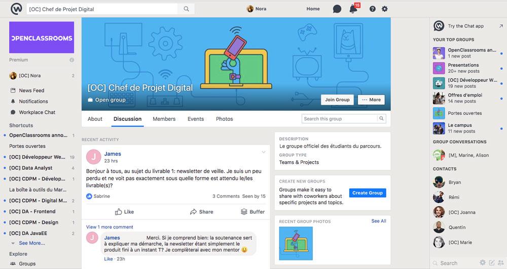 Une vue de la page de discussion du parcours Chef de projet Digital sur Workplace