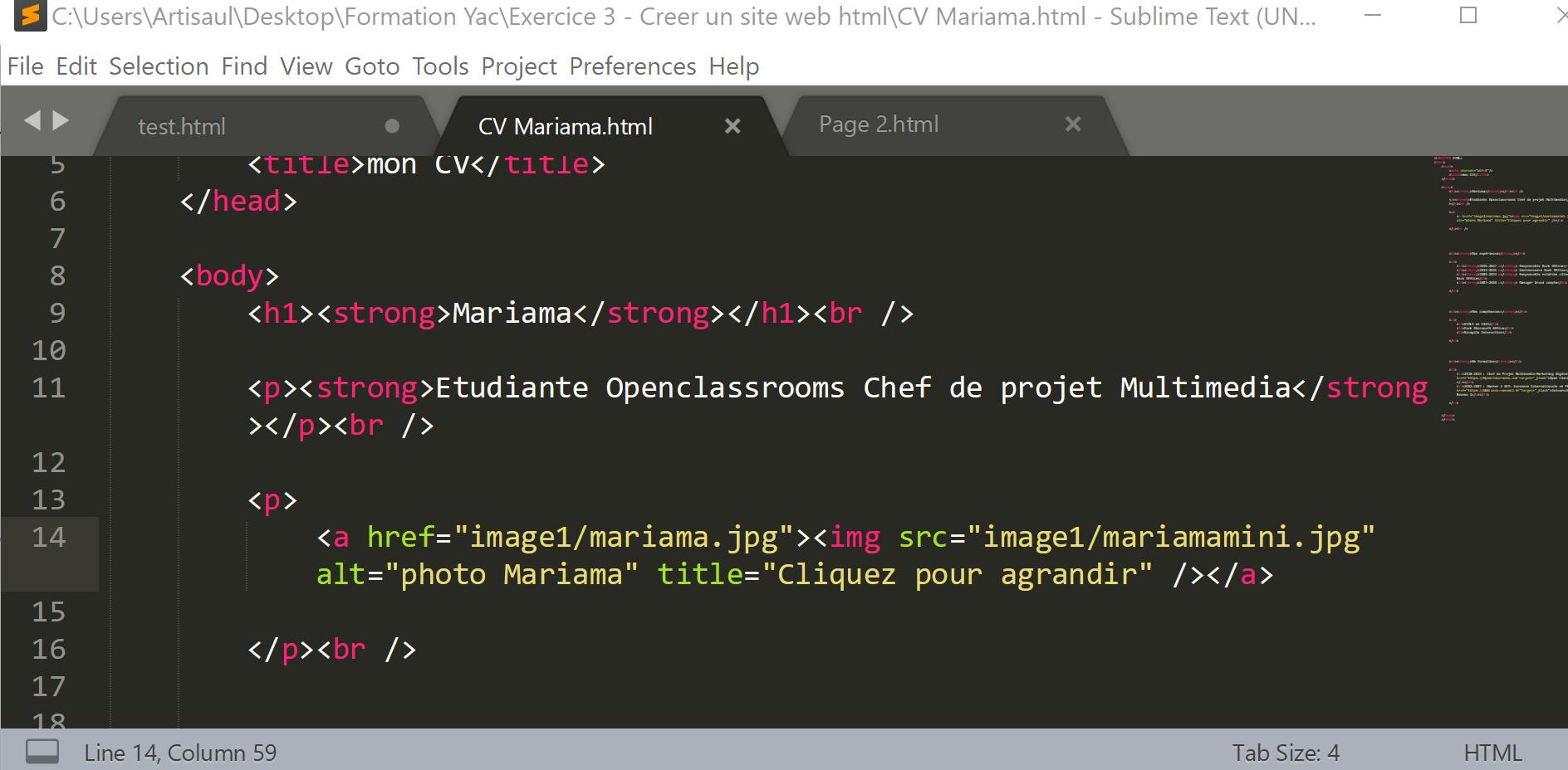 r u00e9solu  cours html css - activite 1 cv