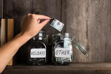 Labeled savings in jars