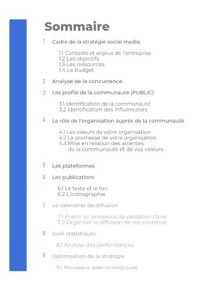 Sommaire du template de stratégie social media avec les points abordés jusqu'à présent